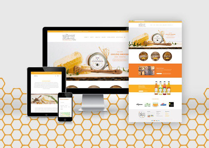 Beekeepers Daughter Web Mock with honeycomb background