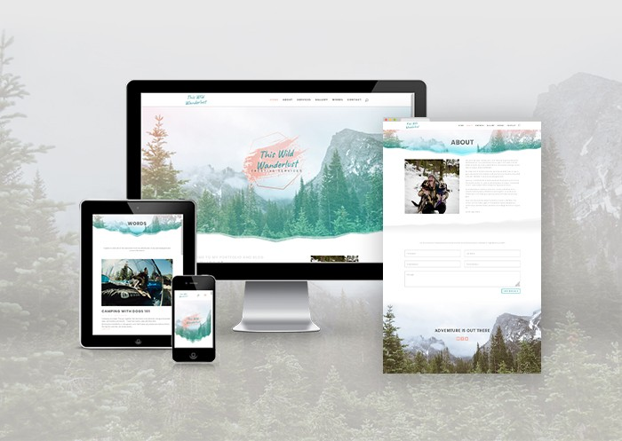 This Wild Wanderlust web design mock